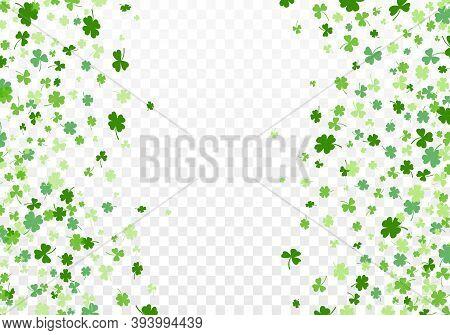 Shamrock Or Clover Leaves Flat Design Green Backdrop Pattern Vector Illustration Isolated On Transpa