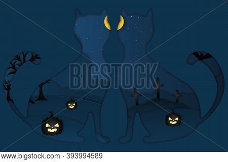 Halloween. Mystical Landscape. Window In The Shape Of Cats. Full Moon. Starry Skies. Ominous Trees A