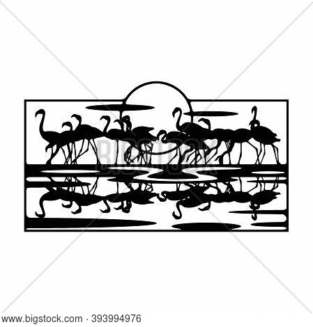 Flamingo Wildlife, Wildlife Stencils - Forest Silhouettes For Cricut, Wildlife Clipart, Png Cut File