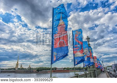 2018 Fifa World Cup And The Fifa Confederations Cup 2017 On The Flags On The Trinity Bridge, Greetin