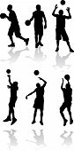 sport set. silhouette of the basketball player poster