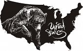 Grizzly bear and U.S. outline map. Black and white vector illustration. Ursus arctos horribilis. poster