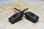 two radio wireless for emergency and exploration with map poster