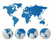 World map vector illustration on white background poster