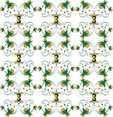 Abstract gold and green figures on a white background. Decorative pattern for wallpapers or fabric. poster