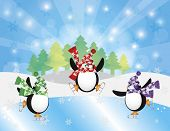 Three Christmas Penguins Ice Skating in Ice Rink Winter Scene with Trees Snowflakes and Sun Rays Background Illustration poster