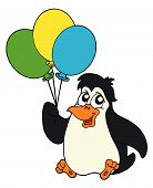 Penguin with balloons on white background - vector illustration. poster