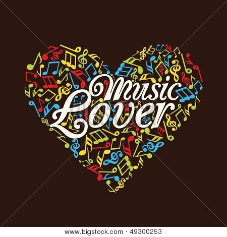 Colorful musical notes heart and text music lover.