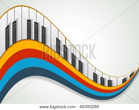 Music concept with piano on colorful wave background, can be use as flyer, poster, banner or background for musical parties and concert.