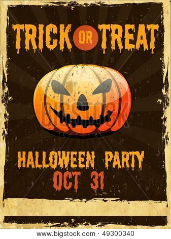 Flyer, poster or banner for Trick or Treat Halloween Party on grungy background with scary pumpkin.  poster