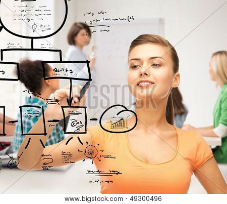 education, economics and technology - student drawing notes on the virtual screen