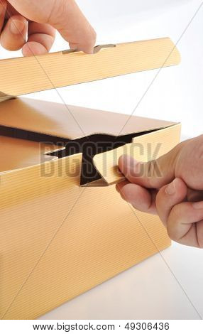 Man Opening the  golden box
