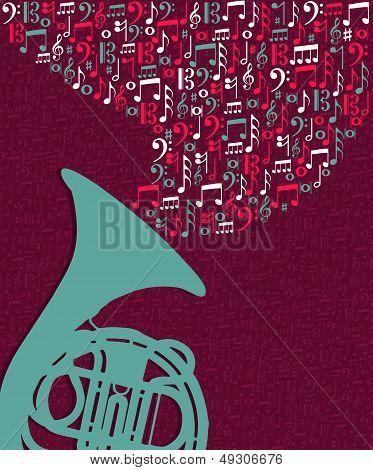 Music Notes Splash Tuba Illustration