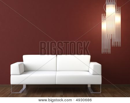 Interior Design White Couch On Bordeaux Wall