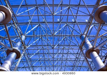Ceiling in office centre and blue sky poster