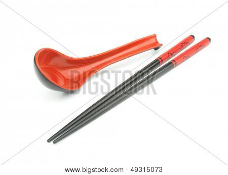 Oriental tableware - chopsticks and tablespoon