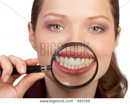 smile and teeth of a beautiful young woman poster