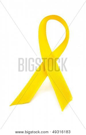 Yellow awareness ribbon on white background
