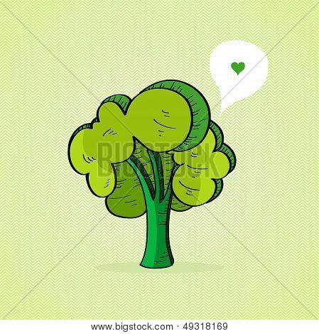 Hand Drawn Green Tree