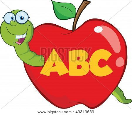 Worm In Red Apple With Glasses And Leter ABC
