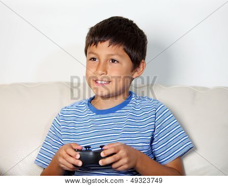 Young Boy Playing Computer Game