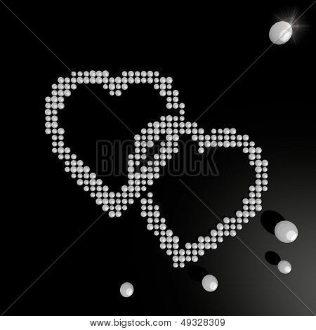 Two Hearts Symbol Made Of Many Spheres