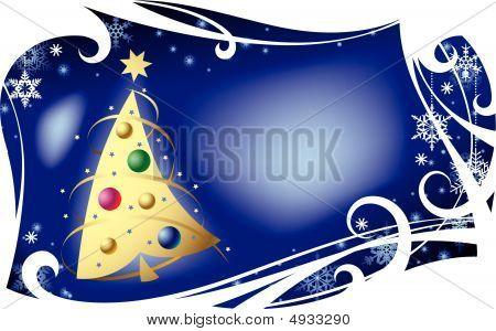 Christmas Card With A Gold Christmas Tree