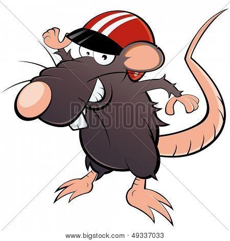 funny cartoon rat with helmet