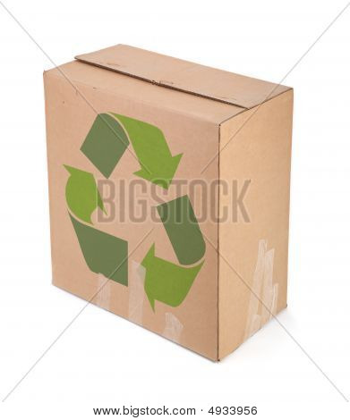 Cardboard Box With Recycle Symbol