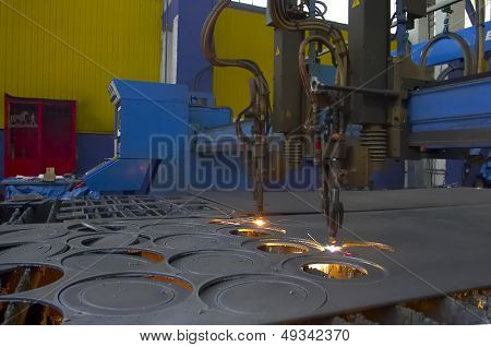 cutting steel machine in a factory