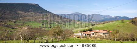 Rural panoramic of a valley in Basque Country poster