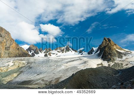 The big Ala-Archa Glacier, Kyrgyz Mountains