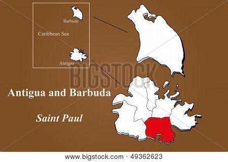 Antigua And Barbuda - Saint Paul Highlighted