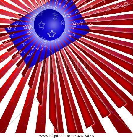 USA flag style and colors abstract design poster