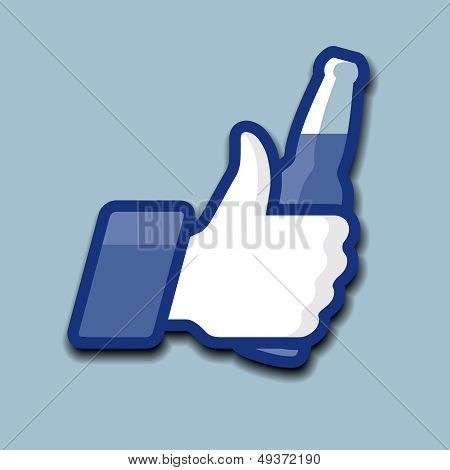Like/Thumbs Up symbol icon with beer bottle