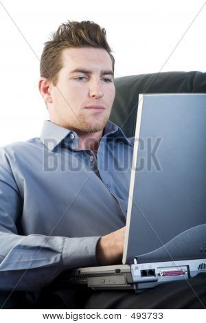 Male Using A Laptop