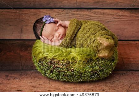 Portrait Of A Sleeping Newborn Girl