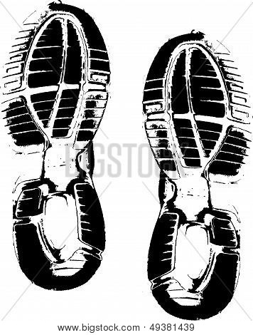 Athletic shoe prints