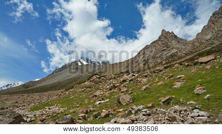 Mountains, Rocks, stones and the blue sky