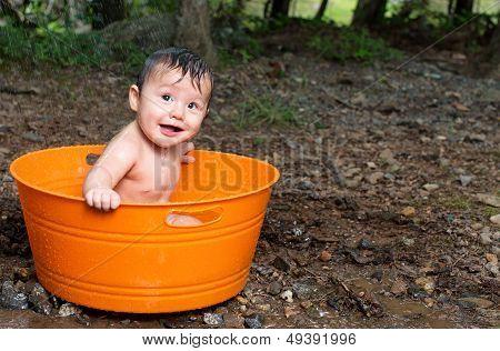 Baby Boy in outside tub
