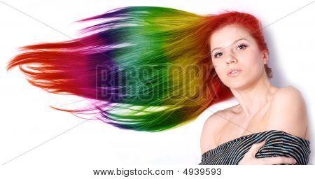 Frau mit langen Farbe Haar