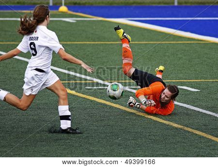 Canada Games Soccer Women Save Ball Keeper