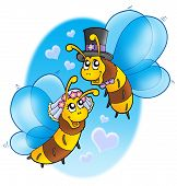Honey bees wedding on sky - color illustration. poster