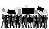 Editable vector silhouettes of protesters and banners with all elements as separate objects poster