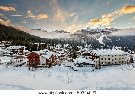 Ski Resort of Madonna di Campiglio in the Morning Italian Alps Italy poster