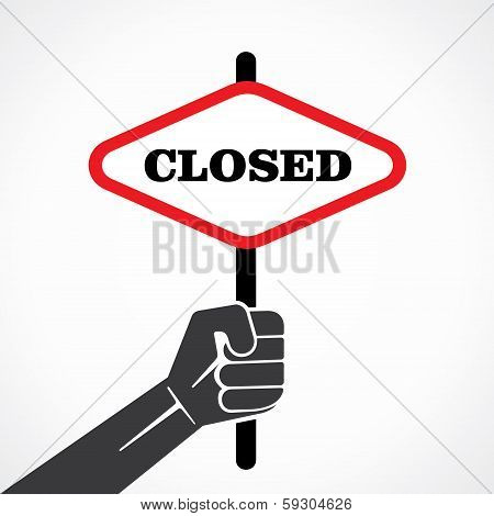 closed word banner hold in hand stock vector