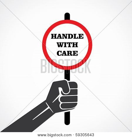 handle with care banner hold in hand stock vector