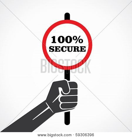 100%  secure word banner hold in hand stock vector