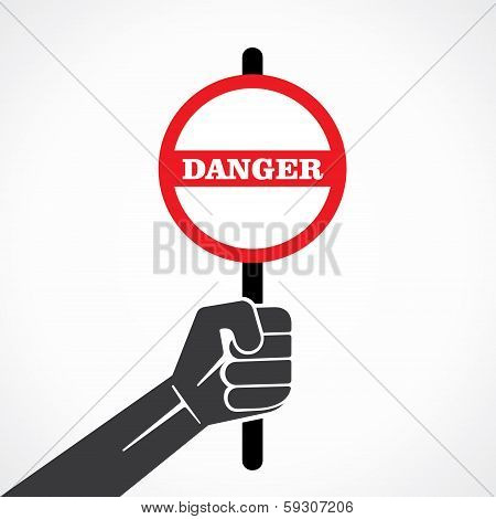 danger word banner hold in hand stock vector
