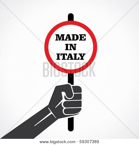 made in italy word banner hold in hand stock vector